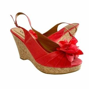 Cl By Laundry Ilena-3 Slingback Wedge Heels Red 9